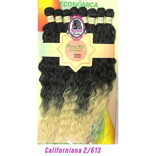 Cabelo Rainbow orgânico - Mèrica Hair 250G ( Cor 2/613californiana - castanho + pontas loiro claro )