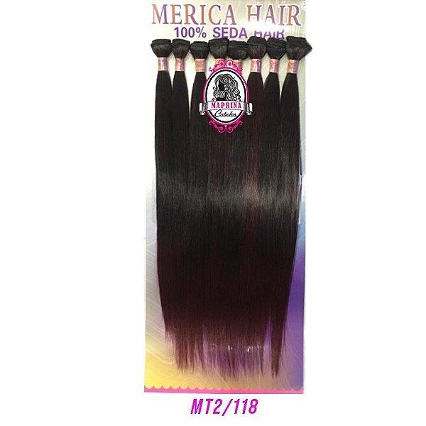 Cabelo Cachoeira Mérica Hair 250g  ( COR MT2/118 castanho escuro + pontas acajú )