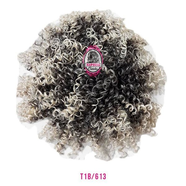 Afro Puff Orgânico 120g Fashion Line ( COR T1B/613 PRETO COM LOIRO CLARO )