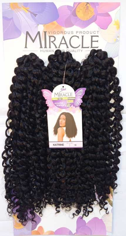 Cabelo Miracle Katrine 220g - Crochet Brad (Cor 1B - Preto)