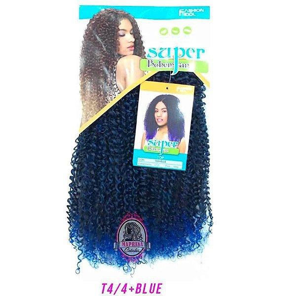 Cabelo Top Super Bohemian - Sleek ( Cor T4/4+BLUE - Castanho + Azul caneta )