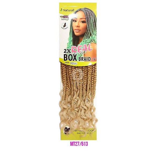 """2X Real Box Braid 14"""" (cor M27/613 - Loiro mel + loiro claro)"""