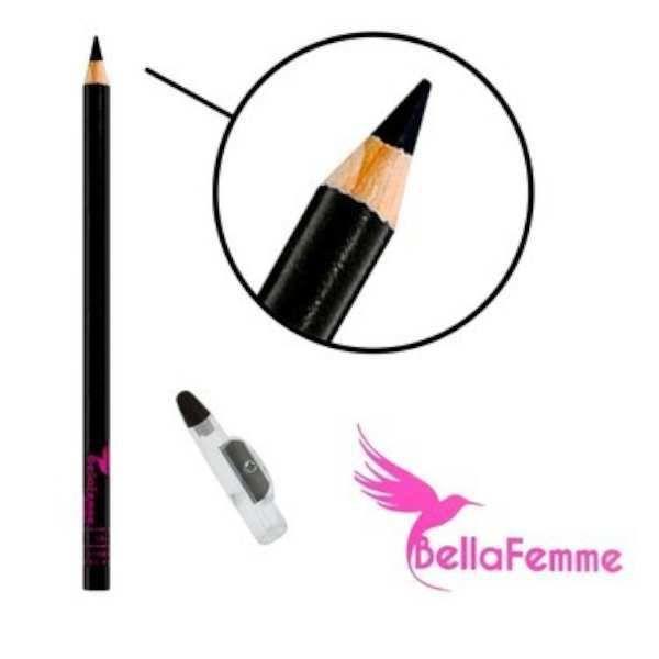 Lápis para Olhos Preto com Apontador Bella Femme BF10003