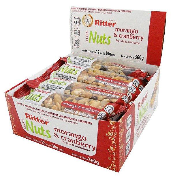 Barra Nuts Morango e Cranberry - Display com 12 un