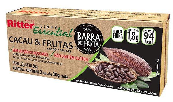 CARTUCHO BARRA DE FRUTA CACAU E FRUTAS - 2 UNIDADES DE 30g CADA