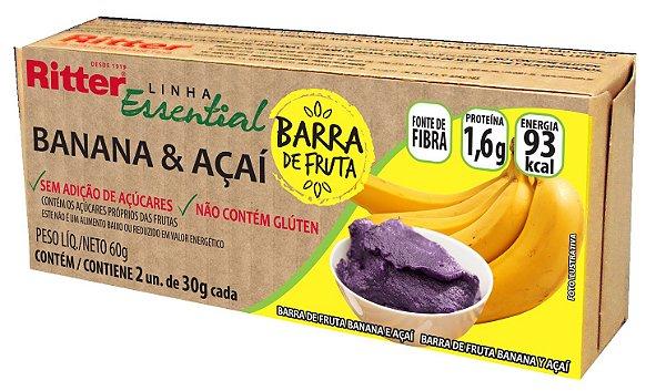 BARRA DE FRUTA BANANA E AÇAÍ - 2 UNIDADES DE 30g CADA