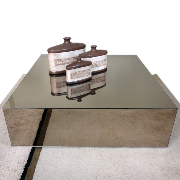 Mesa de centro espelhada bronze 80x80