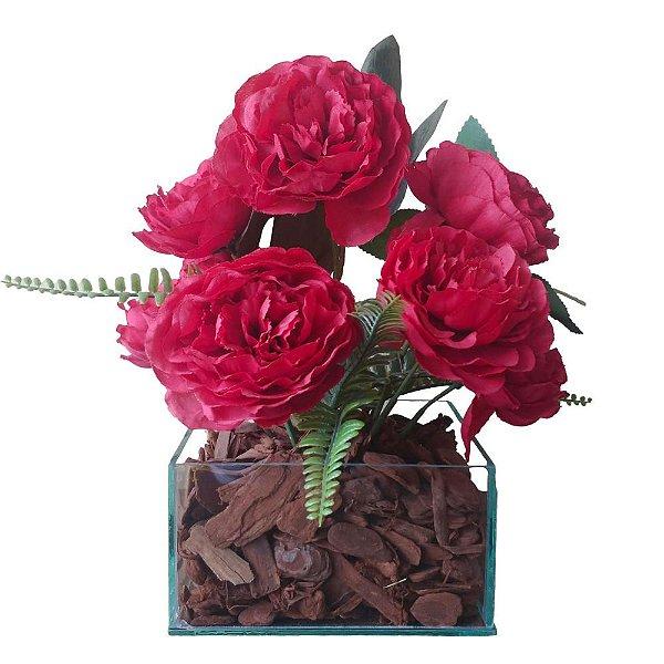 Arranjo Rosas vermelhas vaso de vidro incolor  15x28 cm