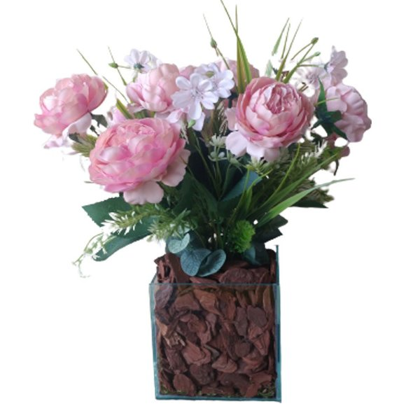 Arranjo Peônias rosê vaso de vidro incolor  12x38 cm