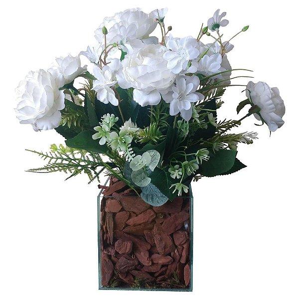 Arranjo Peônias branco vaso de vidro incolor  12x38 cm