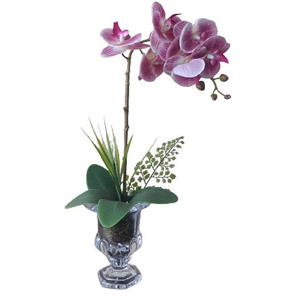 Arranjo Orquídea Pink taça vidro incolor 50x11cm
