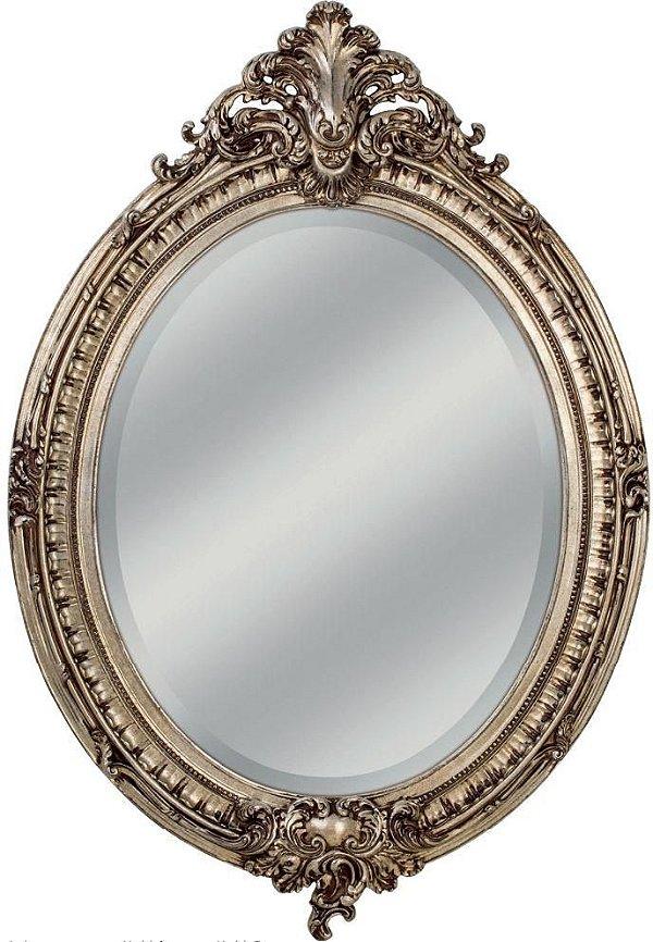 Espelho Decorativo Oval Com Moldura Classico Bizotado