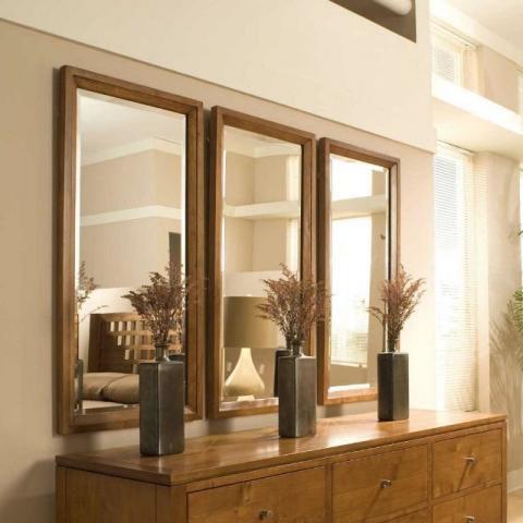 3 Espelhos Bizotados Com Moldura Estilo Caixa Decorativo
