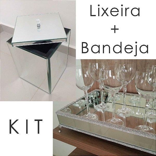 Kit de Luxo para Banheiro - Lixeira + Bandeja Espelhada