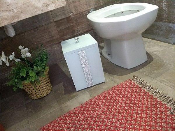 Lixeira Vidro Branco Para Banheiro TP Sobrepor Pérolas Pequenas e Strass