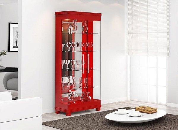 Cristaleira Moderna C/ Led Cristal 2 Portas - Vermelho Brilho