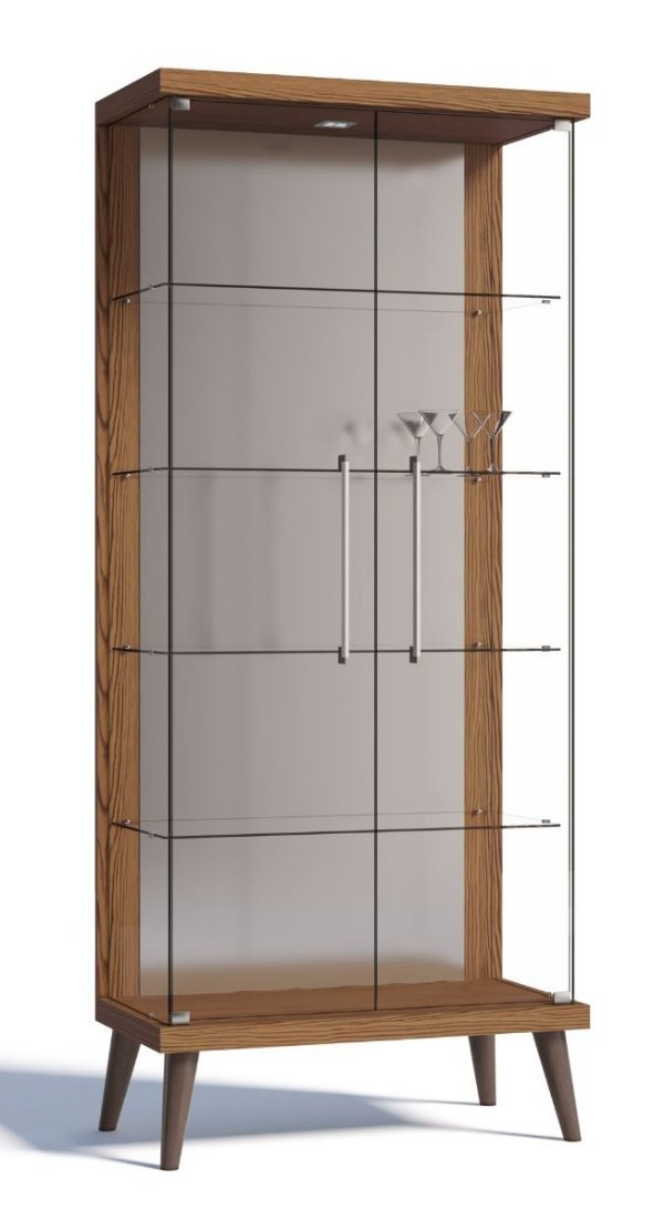 Cristaleira Retrô Com Led Tifanny 2 Portas - Freijó