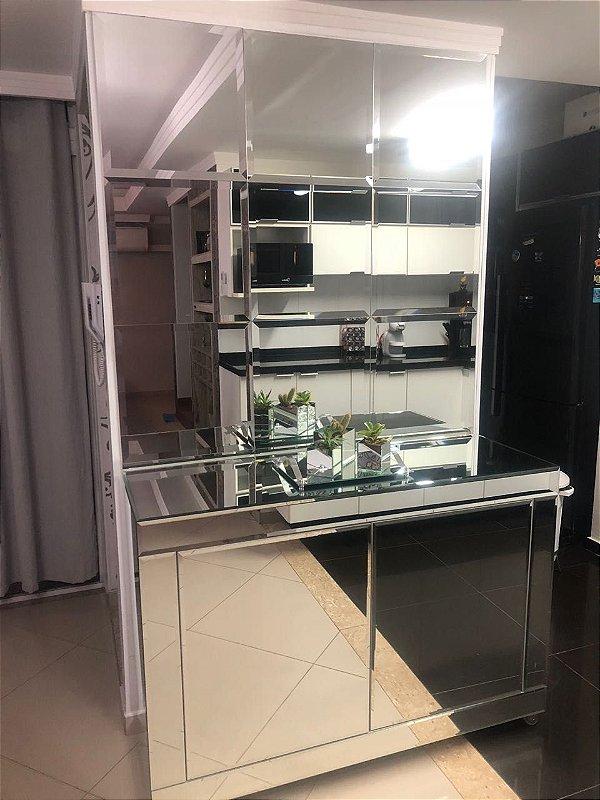 Buffet Espelhado Bisotado 130x45x85 2 portas Leve e Toque