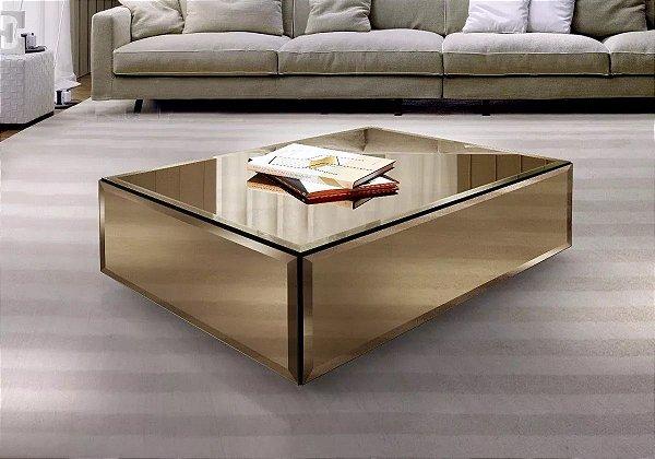 Mesa De Centro Espelho Bronze Bisotado 110x70x35