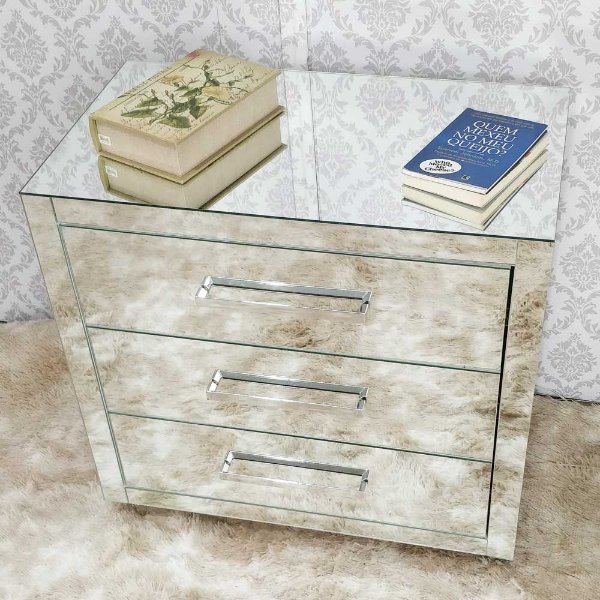 Criado Mudo Espelhado 100 x 70 (LxA) 3 Gavetas