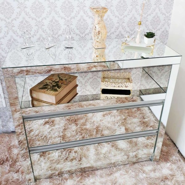 Criado Mudo Espelhado com Nicho espelhado 60 x 35 x 60