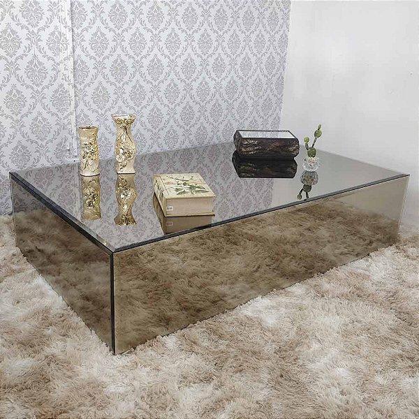 Mesa de Centro em espelho Bronze 150x90x35 Bisotada
