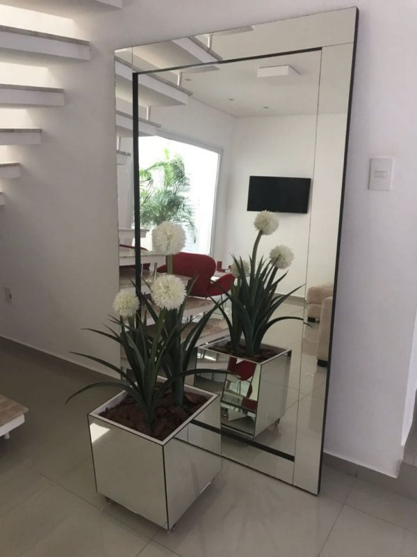 Kit Espelho de Piso lapidado 200x100 + cachepô espelhado 45x45x45