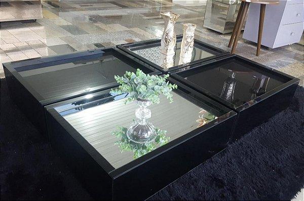 Mesa de centro em vidro preto lapidado medidas 160x110x20