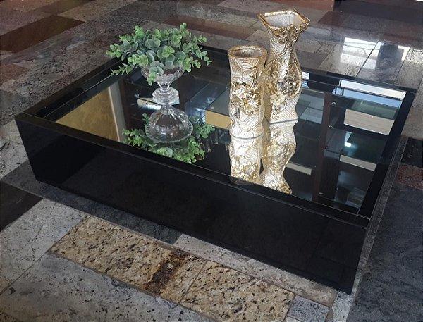 Mesa de Centro Vidro Preto com espelho 80x55x20