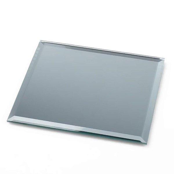 porta copos de mesa espelho quadrado chique decorativo chanfrado