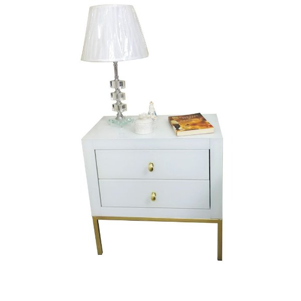 Mesa de Cabeceira de Vidro Branco com Pé Dourado 2 gavetas e Puxador Dourado 60x35x60