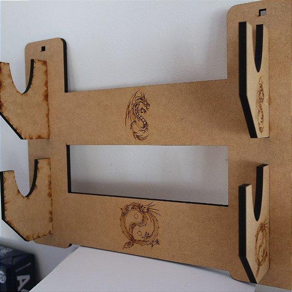 Suporte Duplo Espadas para Parede Samurai Katana Wakizashi Tanto