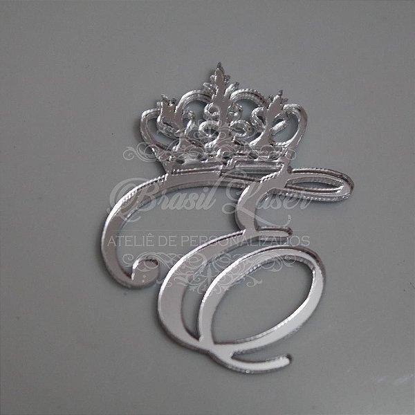 Letra com coroa em Acrílico espelhado Prata- Vários Tamanhos