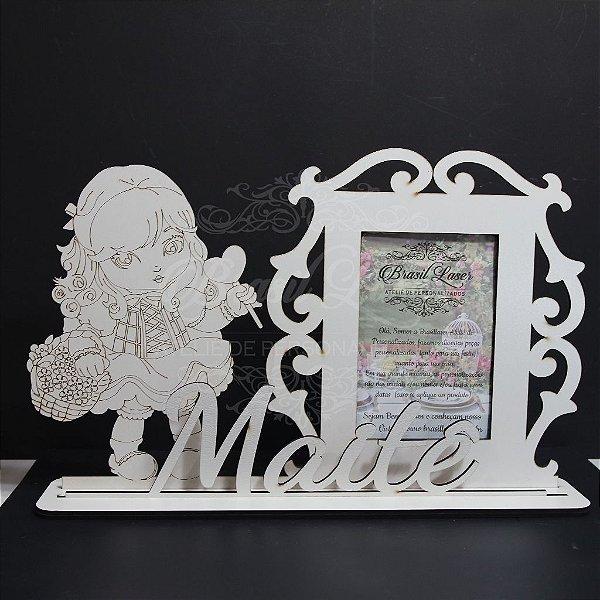 Porta Retrato da Jolie com Nome Personalizado em Mdf Branco