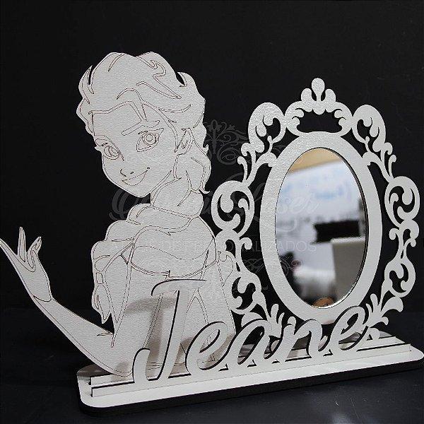 Espelho para Penteadeira da Princesa Elsa com Nome Personalizado em Mdf Branco