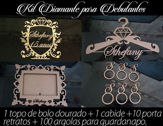 Kit Debutante Diamante 1 Topo Bolo Dourado + 1 Cabide Mdf + 10 Porta Retratos + 100 Argolas para Guardanapos MDF