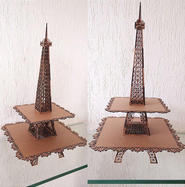 1 Torre com 2 andares de Bandejas formato Torre Eiffel Paris - EXCLUSIVO