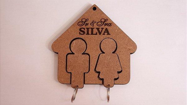 Porta Chaves com Chaveiros Noivinhos com Sr e Sra. Sobrenome Gravado Personalizado