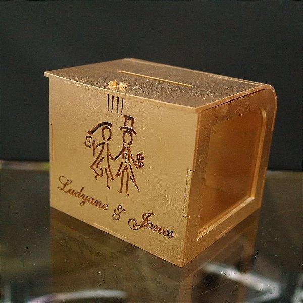 Cofrinho da Gravata para Casamento Pintado de dourado