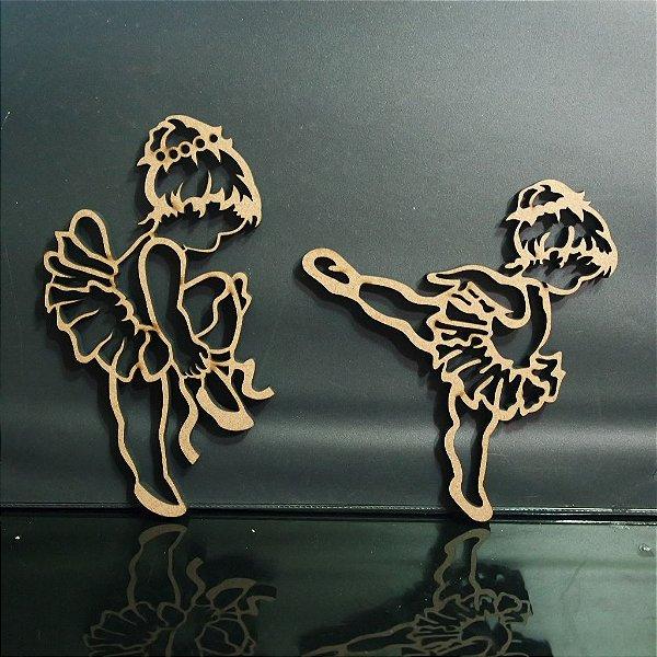 2 Silhuetas de Bailarina Decorativo em Mdf - Vários Tamanhos