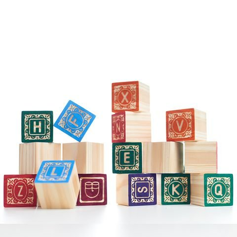 Kit ABC Entalhado - Blocos de montar de madeira