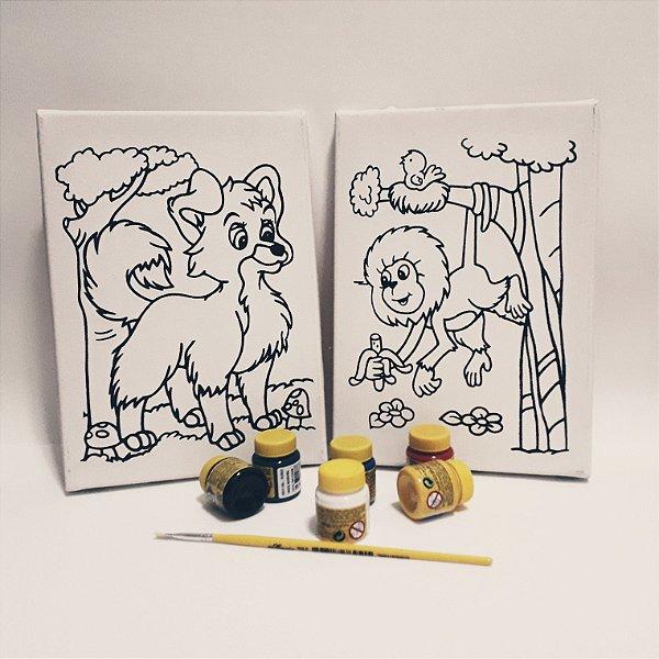 Tela de Pintura - Kit 2 telas Lobo Guará - Mico Leão