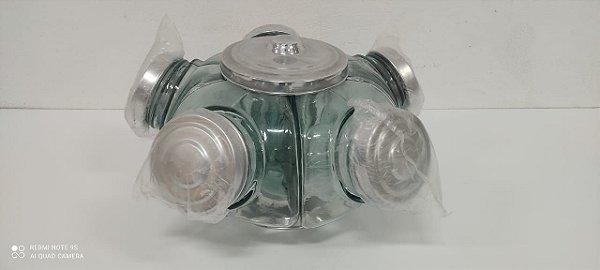 Baleiro De vidro Pequeno 1 Piso 5 Compartimentos