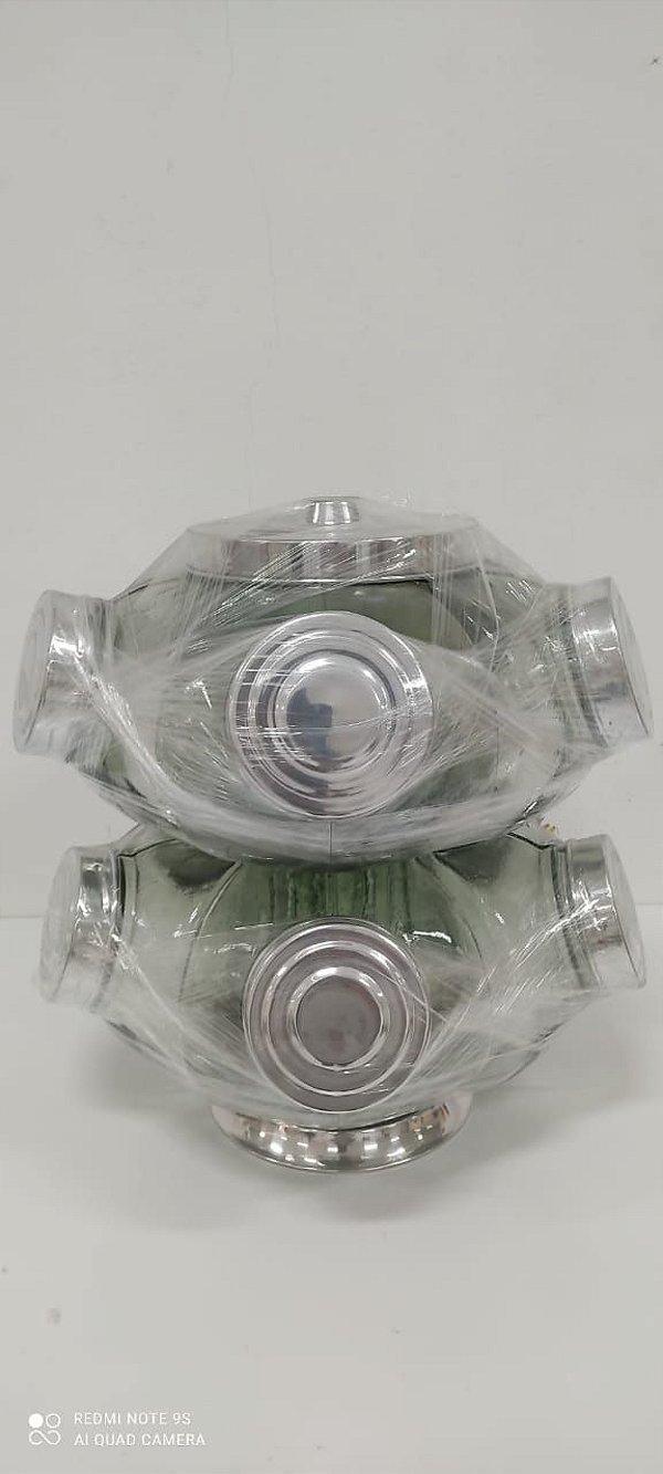 Baleiro de vidro 2 Pisos 5 Compartimentos