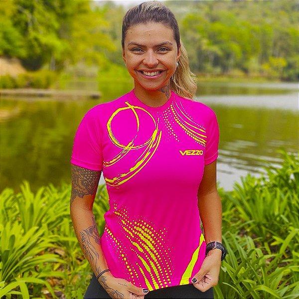 Camisa Running Feminina Baby Look Vezzo Neon