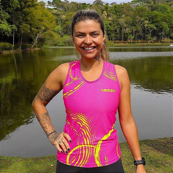 Regata Running Feminina Baby Look Vezzo Neon