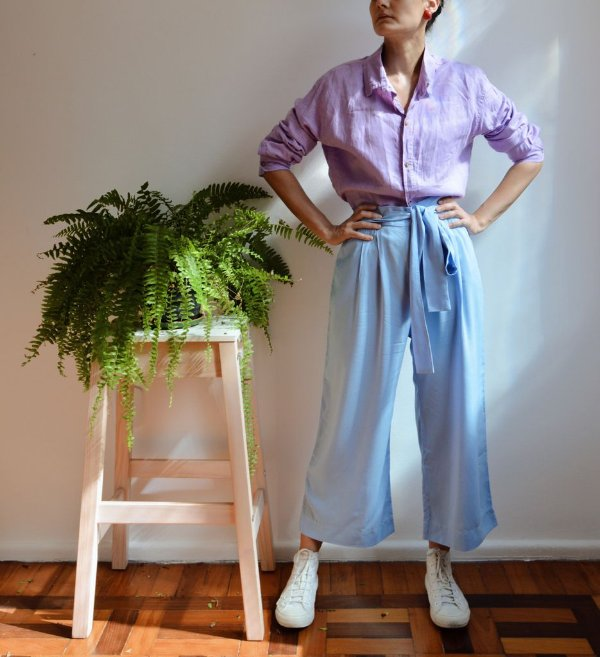 Calça Olivia - pantacourt azul
