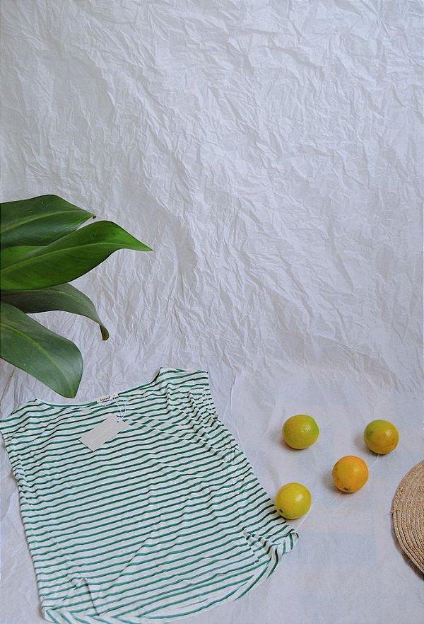 Blusa Jasmine - listrada verde claro e branca