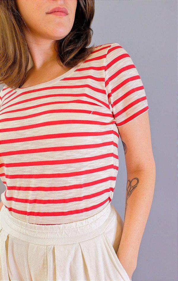Blusa Julia - listrada vermelha e branca