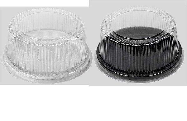 Embalagem Cristal –  Redonda ALTA – torta média  Tampa cristal e base BRANCA ou PRETA Com 50 unidades